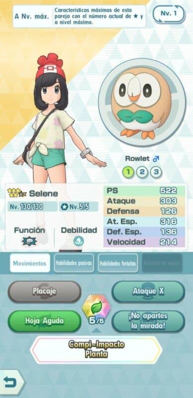 Pokemon Masters EX Selene y Rowlet