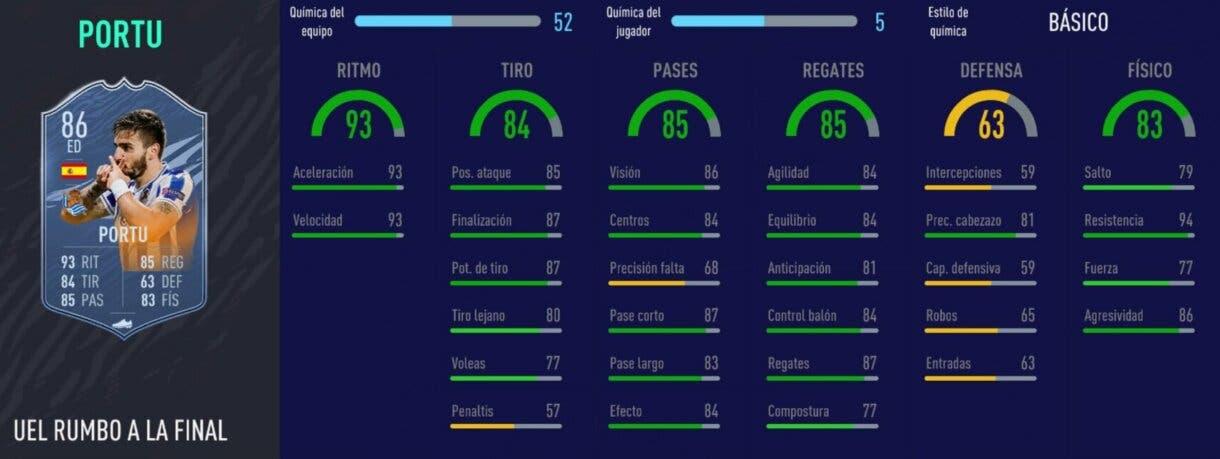FIFA 21 Ultimate Team Liga Santander mejores extremos derechos stats in game de Portu RTTF