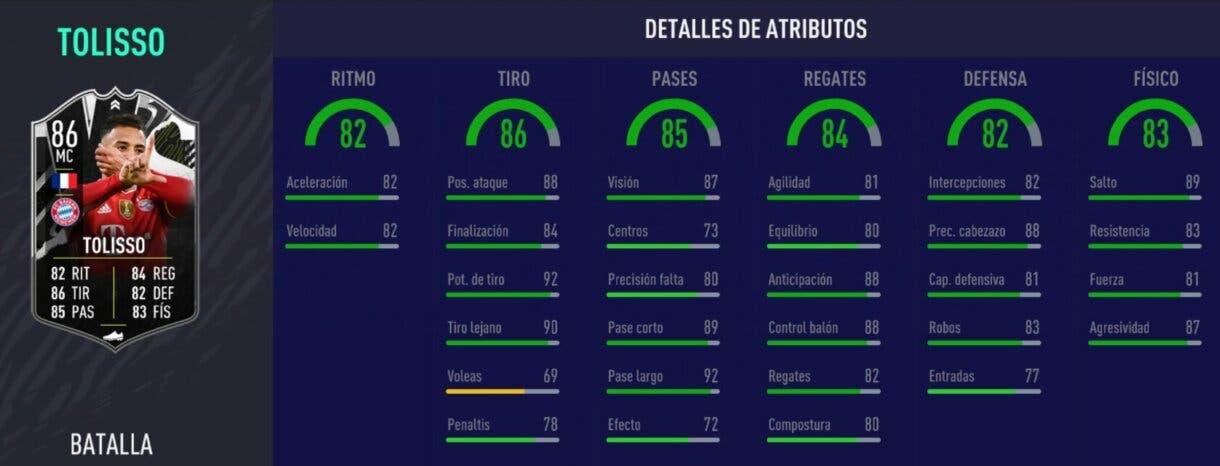 FIFA 21 Ultimate Team Tolisso Showdown stats in game