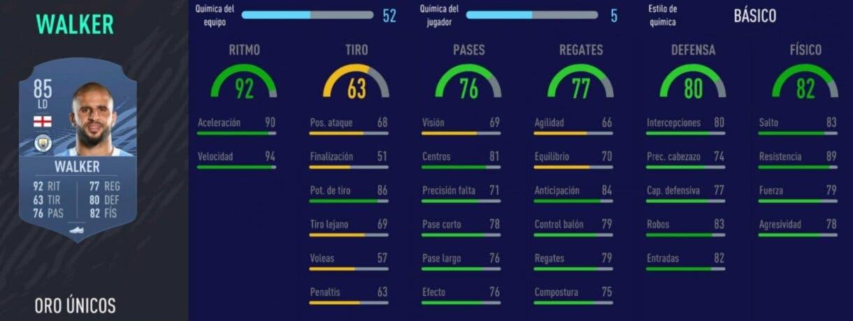 FIFA 21 Ultimate Team los mejores suplentes defensivos stats in game Walker oro