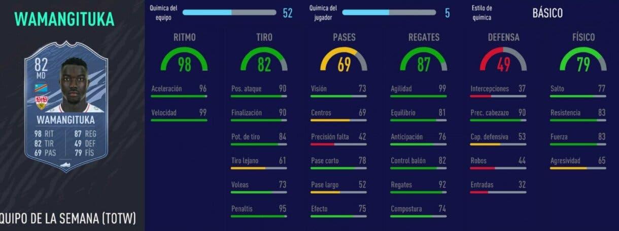 FIFA 21 Ultimate Team mejores revulsivos stats in game Wamangituka