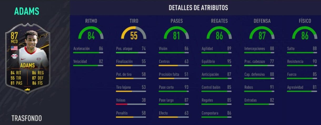 FIFA 21 Ultimate Team cartas Trasfondo nivel 15, 6 temporada. Stats in game de Adams