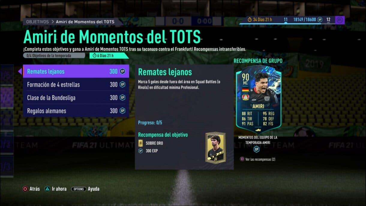 FIFA 21: consigue fácilmente a Amiri TOTS Moments, la nueva carta free to play Ultimate Team objetivos fecha de expiración