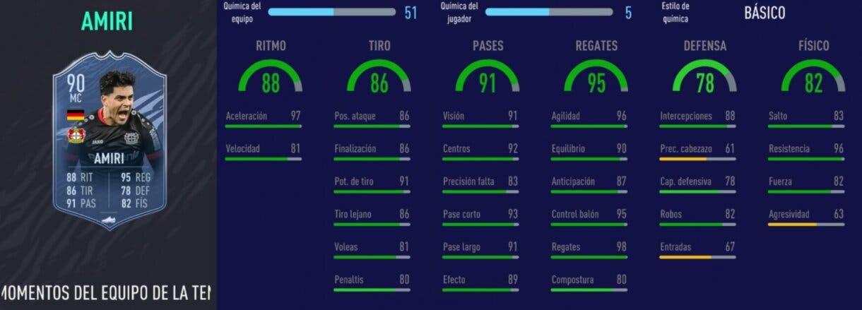 Stats in game de Amiri TOTS Moments. FIFA 21 Ultimate Team