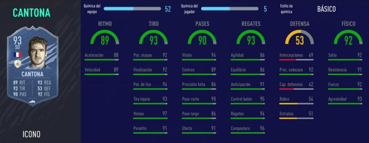 FIFA 21 Ultimate Team Iconos que nos encantaría ver en la tercera tanda de Icon Swaps stats in game Cantona Prime