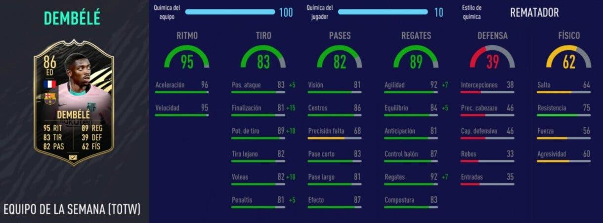 FIFA 21: los mejores extremos derechos de cada liga relación calidad/precio stats in game de Dembélé SIF