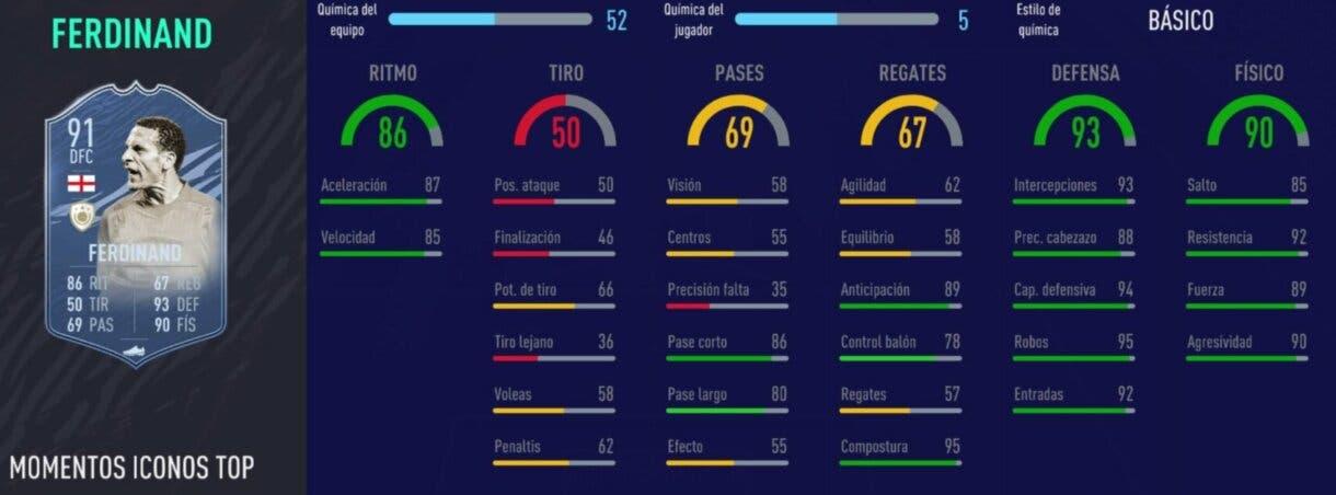 FIFA 21 Ultimate Team Iconos que nos encantaría ver en la tercera tanda de Icon Swaps stats in game de Ferdinand Moments