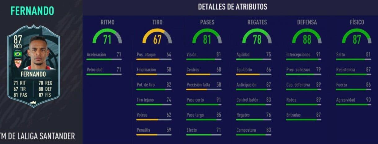 Stats in game de Fernando POTM. FIFA 21 Ultimate Team