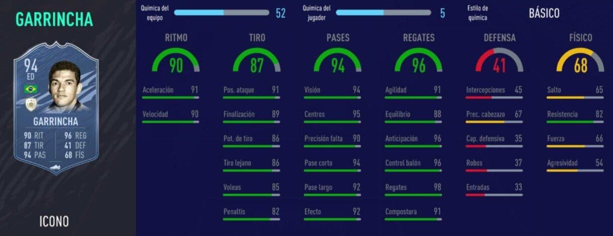 FIFA 21 Ultimate Team Iconos que nos encantaría ver en la tercera tanda de Icon Swaps stats in game de Garrincha Prime