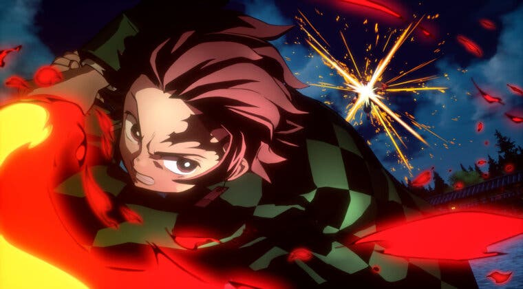 Imagen de Tanjiro (Hinokami Kagura) se luce en un gameplay de Kimetsu no Yaiba – Hinokami Keppuutan