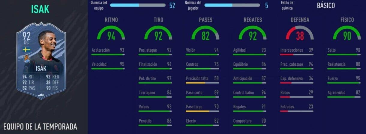 Stats in game de Alexander Isak TOTS. FIFA 21 Ultimate Team