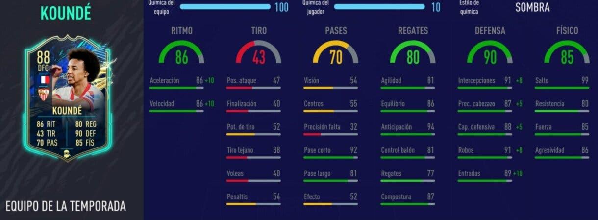 FIFA 21 Ultimate Team stats in game de Koundé TOTS review