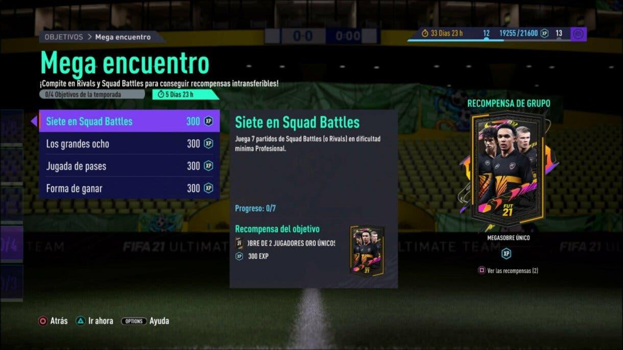 FIFA 21 Ultimate Team Mega encuentro objetivos sobre free to play