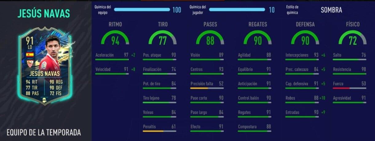 FIFA 21: los laterales derechos más interesantes de cada liga relación calidad/precio Ultimate Team stats in game de Jesús Navas TOTS