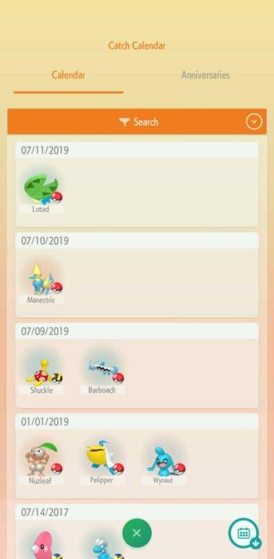 Pokemon HOME calendario de captura