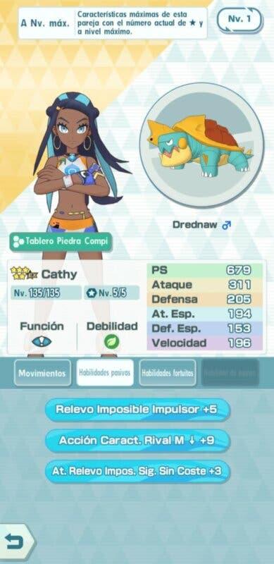Pokemon Masters EX Cathy Drednaw habilidades