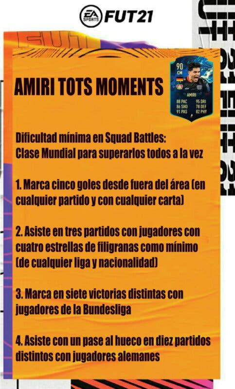 FIFA 21 Ultimate Team guía para conseguir a Amiri TOTS Moments recordatorio objetivos