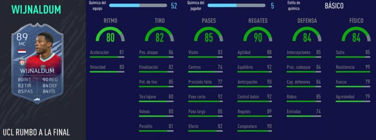 FIFA 21: los mejores mediocentros completos y ofensivos, de precio razonable, para LaLiga y Premier League Ultimate Team stats in game de Wijnaldum RTTF