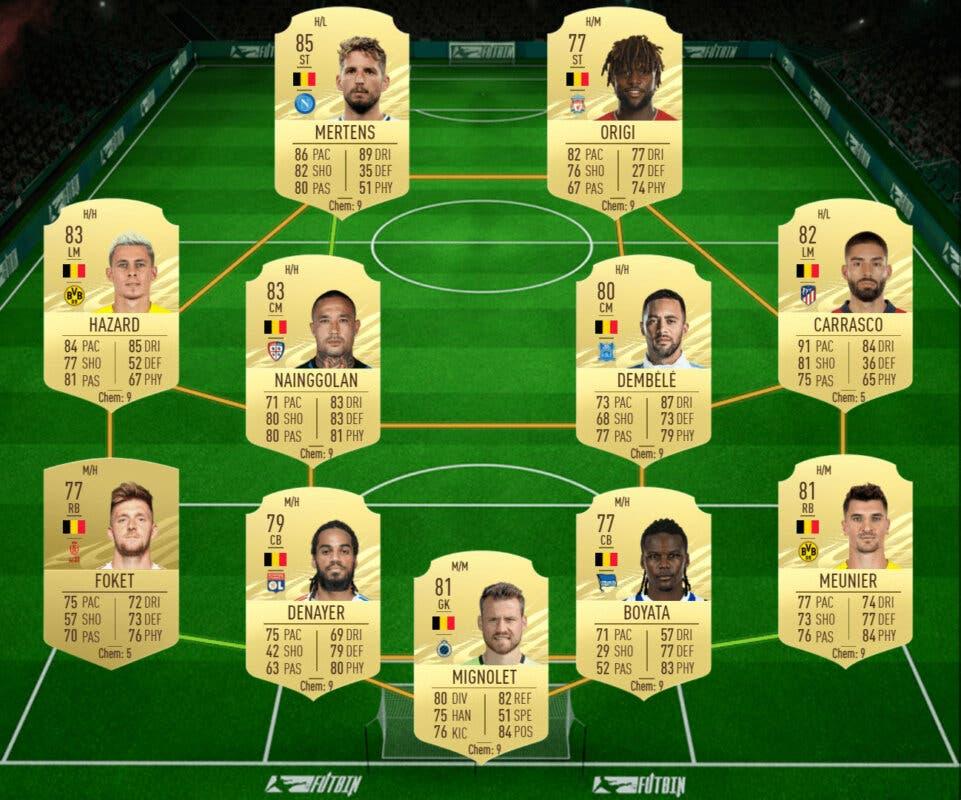 FIFA 21: las mejores plantillas baratas para ganar el nuevo torneo y conseguir el Megasobre Único gratuito Ultimate Team plantilla Bélgica