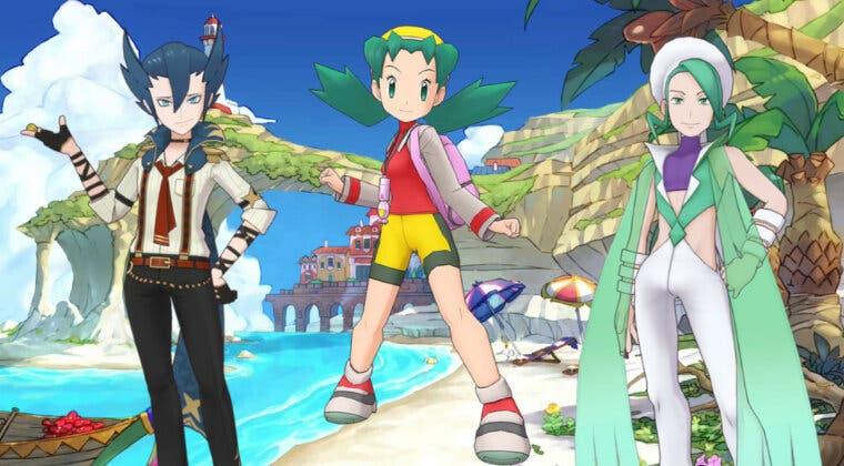Imagen de Pokémon Masters EX junta en un reclutamiento a Cristi, Plubio y Aza (Traje S)