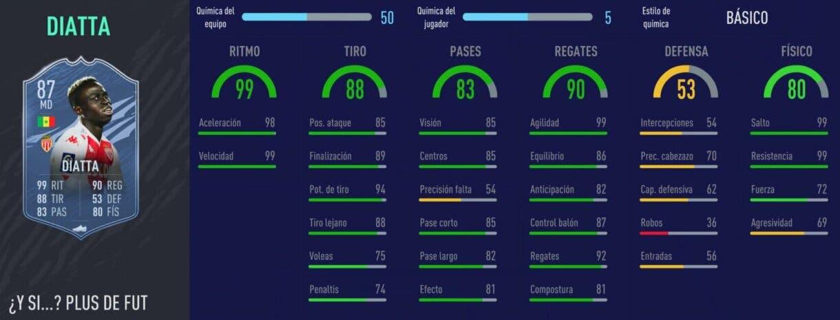 FIFA 21: los mejores extremos derechos de cada liga relación calidad/precio stats in game de Diatta What If