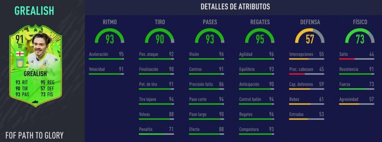 Stats in game de Jack Grealish Festival of FUTball. FIFA 21 Ultimate Team