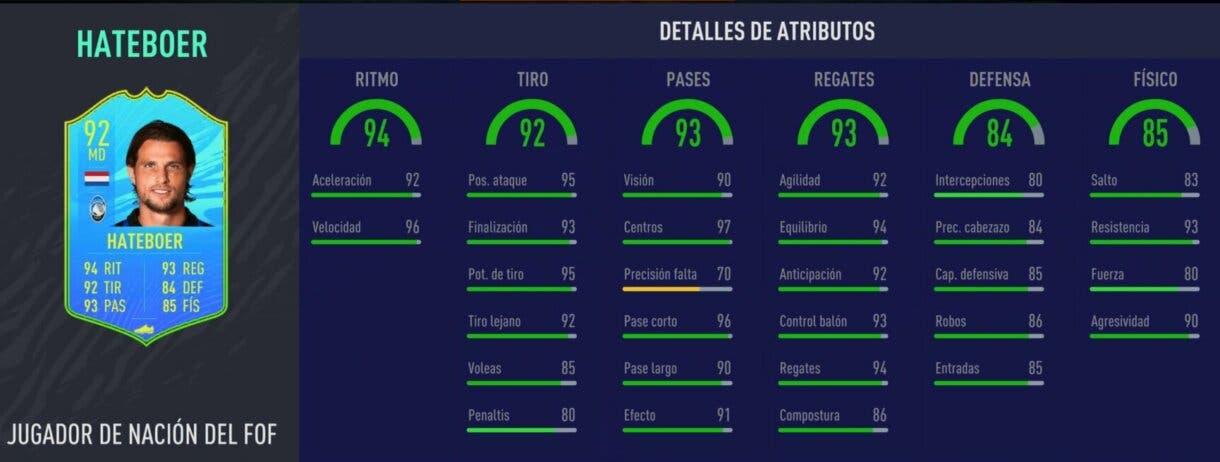 Stats in game de Hateboer Jugador de Nación. FIFA 21 Ultimate Team