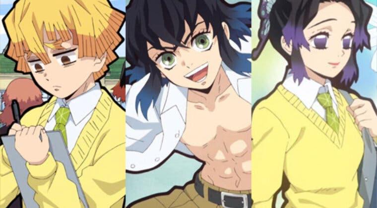 Imagen de Kimetsu no Yaiba – The Hinokami Chronicles confirma versiones Gakuen de Zenitsu, Inosuke y Shinobu