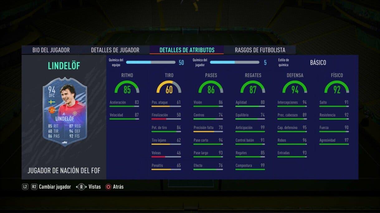 FIFA 21 Ultimate Team. Stats in game de Lindelöf Jugador de Nación.