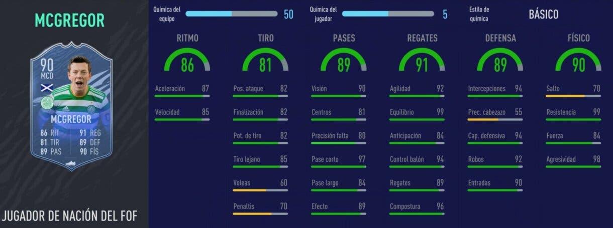 Stats in game de McGregor Jugador de Nación. FIFA 21 Ultimate Team