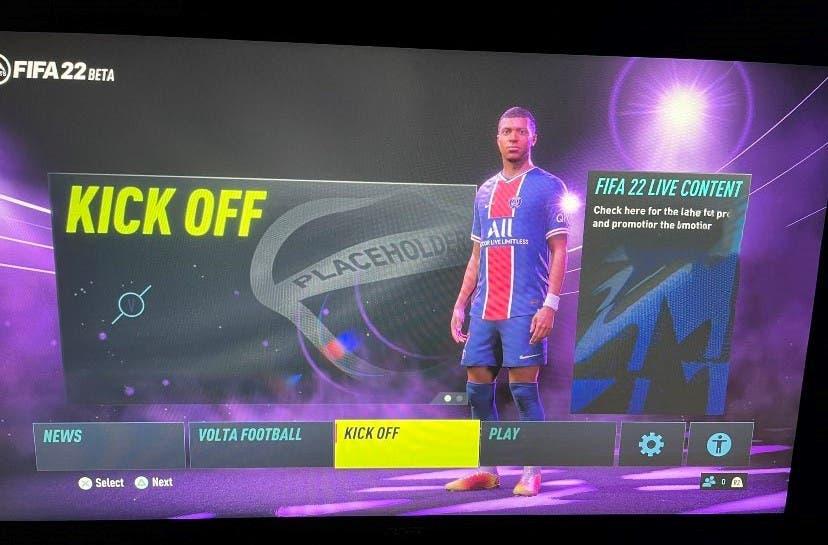 FIFA 22 filtración menú de la beta