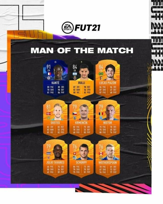 FIFA 21 Ultimate Team nuevo lote de MOTM no ganador del premio para Kanté y Capua