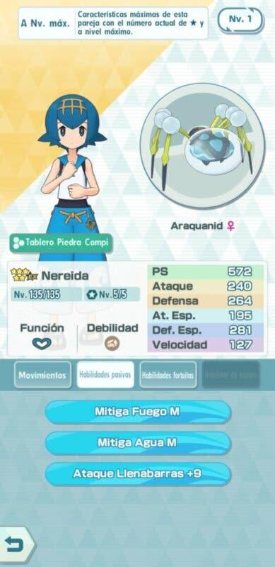 Nereida y Araquanid Pokemon Masters EX habilidades