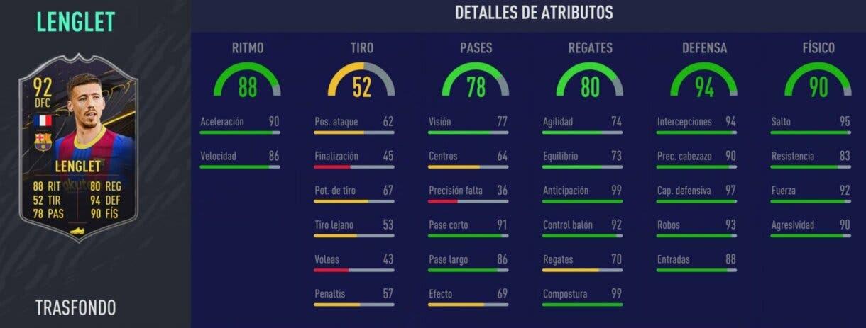 FIFA 21 Ultimate Team Recompensas Temporada 7 Lenglet Trasfondo stats in game