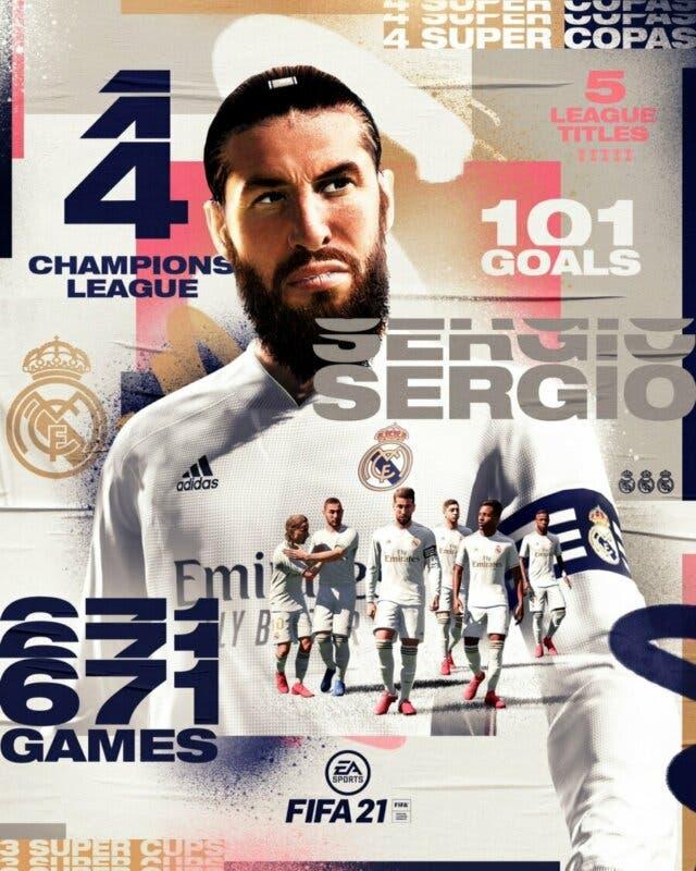 FIFA 21 Ultimate Team posible versión Fin de Una Era para Sergio Ramos. Imagen difundida en redes sociales