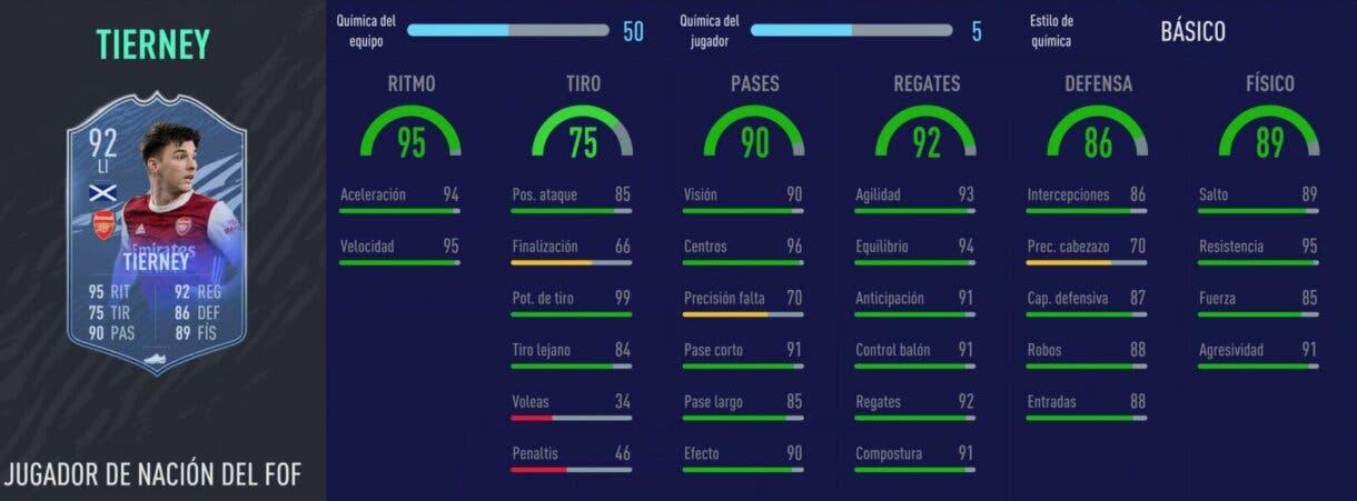 Stats in game de Tierney Jugador de Nación. FIFA 21 Ultimate Team