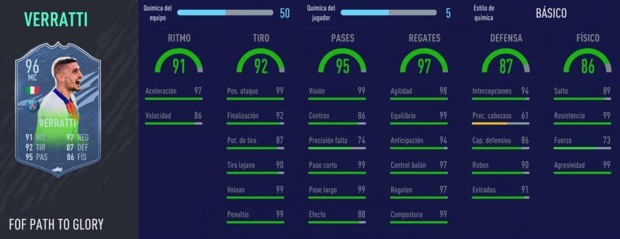 FIFA 21 Ultimate Team. Festival of FUTball actualizados. Stats in game de Verratti