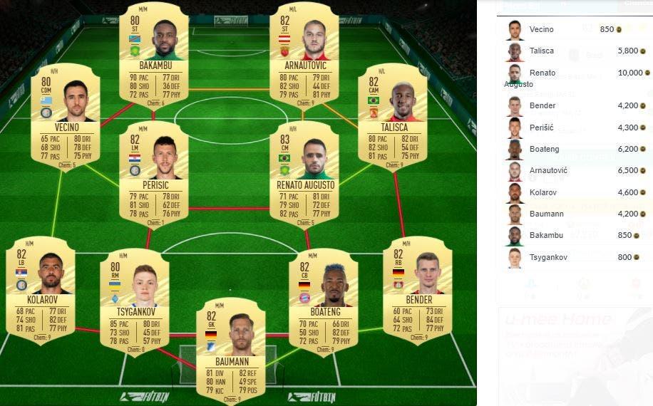 DCP de FIFA 21 Ultimate Team como FUTTIES
