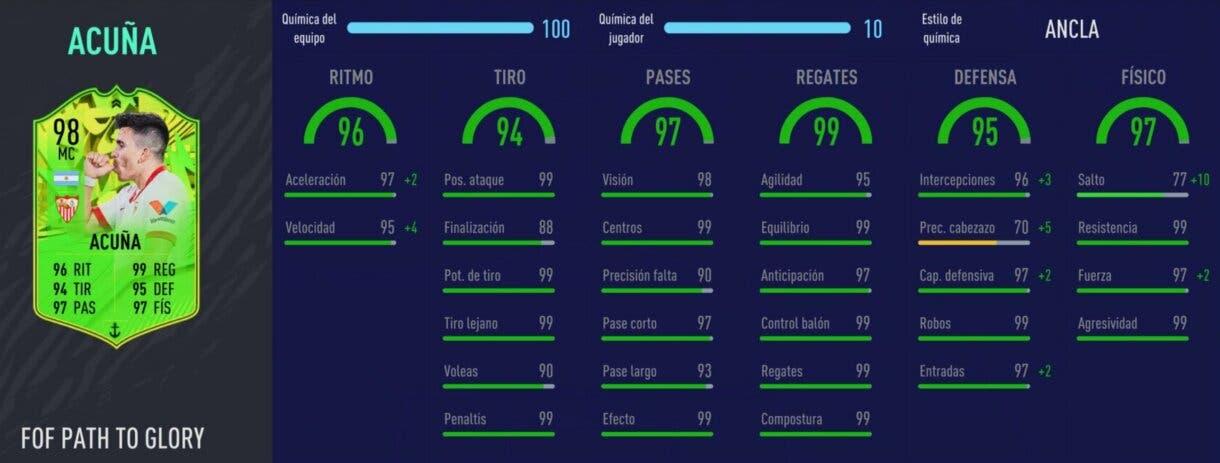 FIFA 21: este centrocampista de la Liga Santander es increíblemente bueno, aunque también muy caro Ultimate Team Stats in game Acuña Festival of FUTball