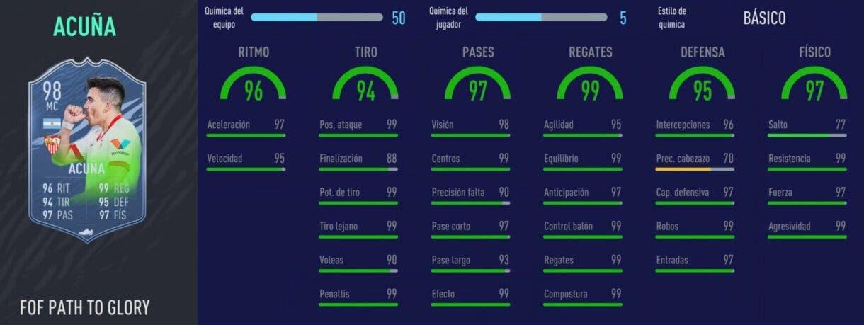 FIFA 21: última actualización de las cartas Festival of FUTball. Así quedan para siempre Ultimate Team Stats in game Acuña