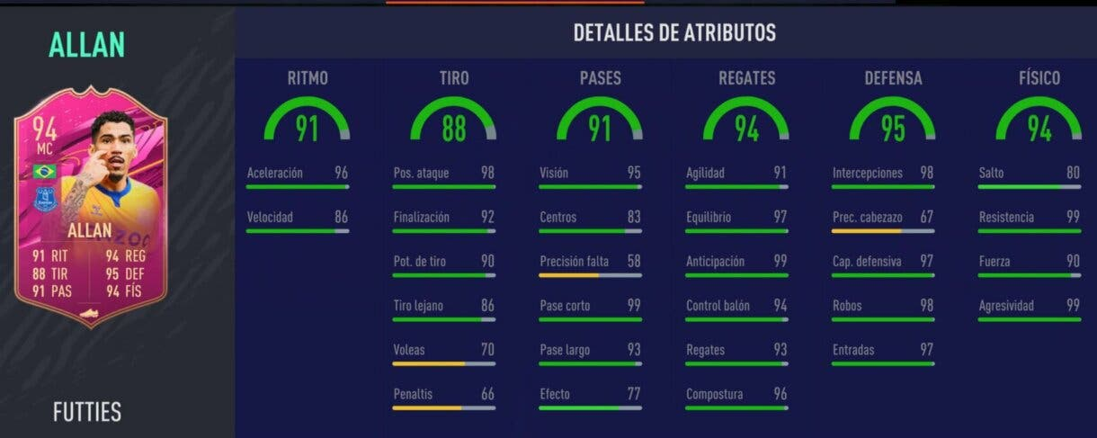Stats in game de Allan FUTTIES. FIFA 21 Ultimate Team
