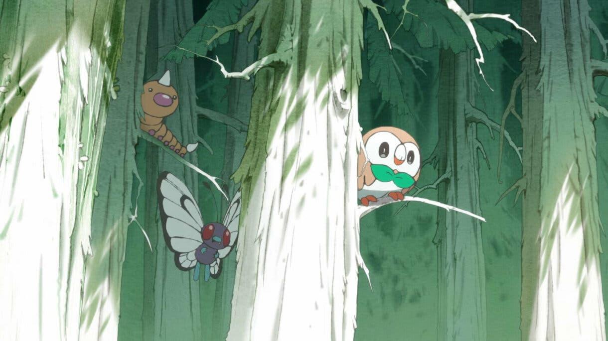 anime de Pokemon corto Magikarp Rowlet Weedle Butterfree