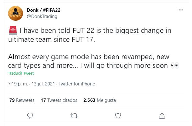"""FIFA 22: Ultimate Team sufriría """"su mayor cambio"""" desde FUT 17 según esta conocida cuenta tuit"""