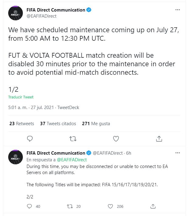 FIFA 21: un nuevo mantenimiento no nos permitirá jugar a Ultimate Team y Volta durante algunas horas