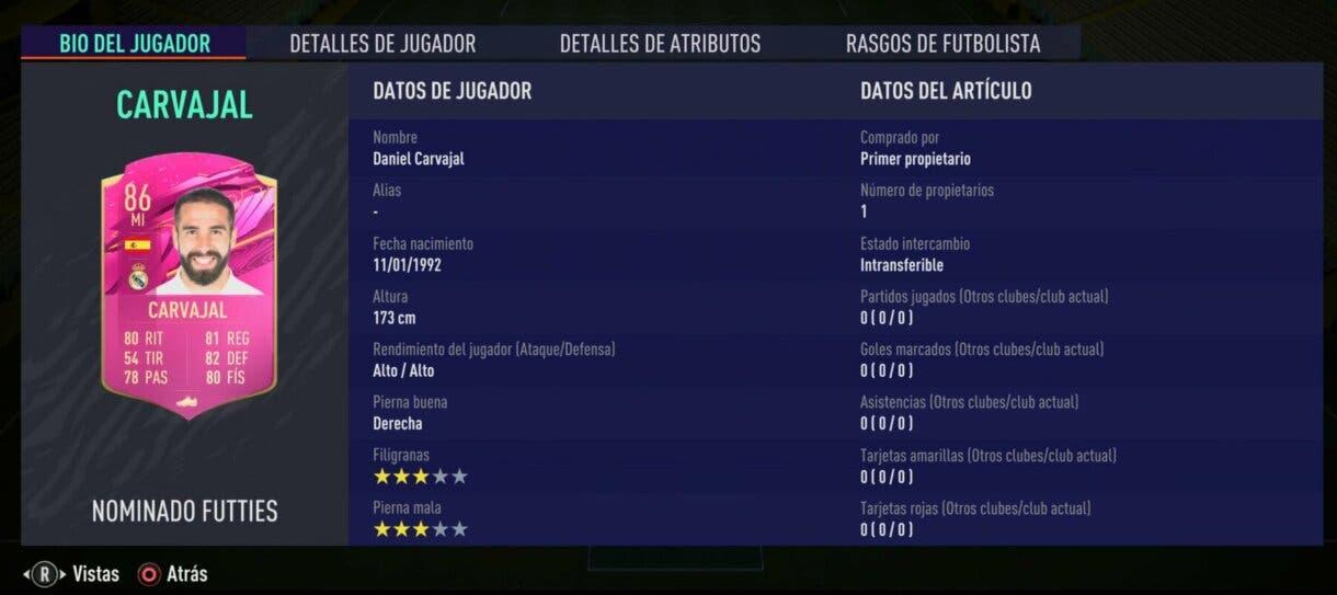 FIFA 21 Ultimate Team FUTTIES próximo evento primera votación Carvajal