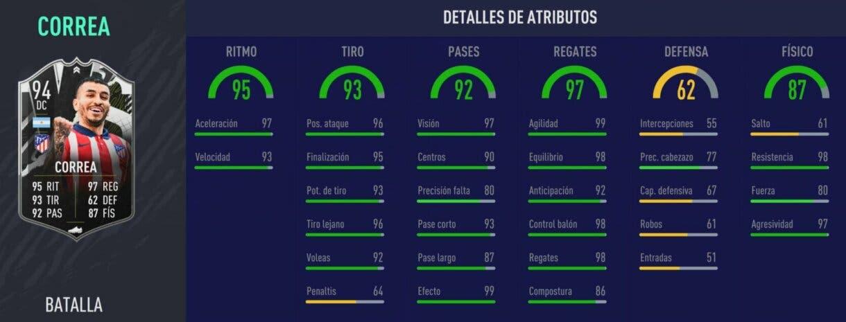 Stats in game de Correa Showdown. FIFA 21 Ultimate Team
