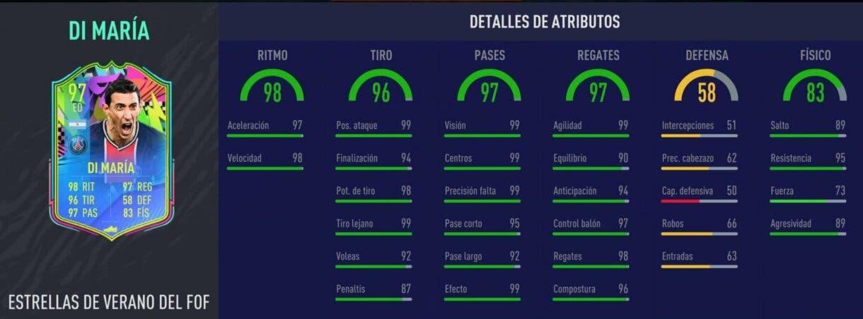 Stats in game de Di María Summer Stars. FIFA 21 Ultimate Team