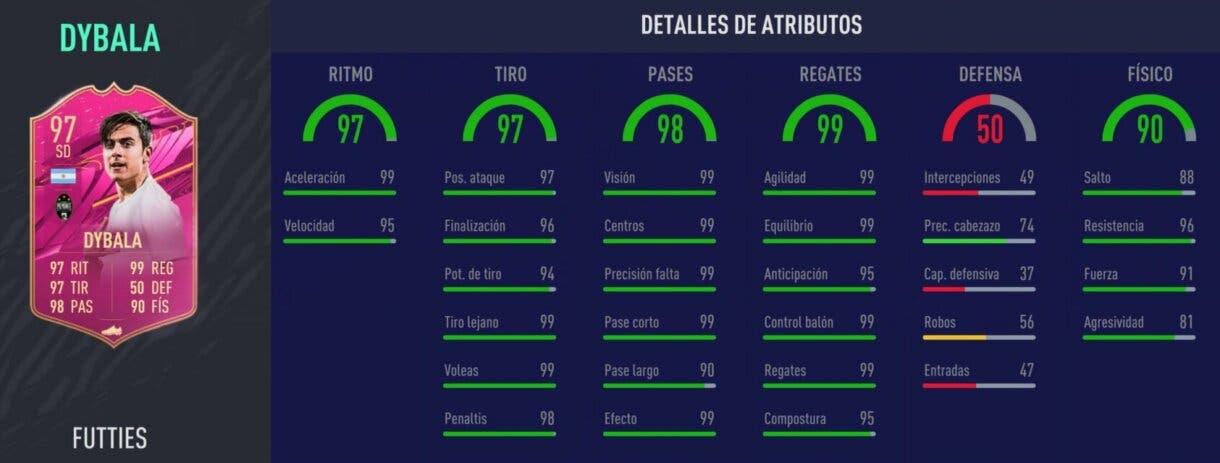 Stats in game de Dybala FUTTIES. FIFA 21 Ultimate Team