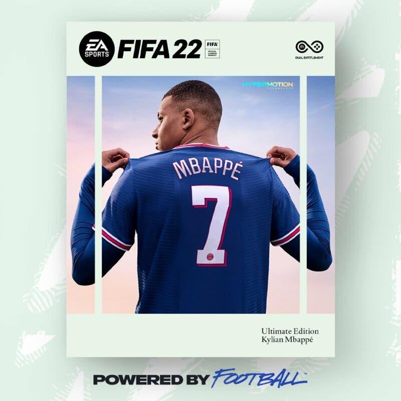Esta es la portada oficial de FIFA 22. Kylian Mbappé. Ultimate Edition Ultimate Team EA Sports