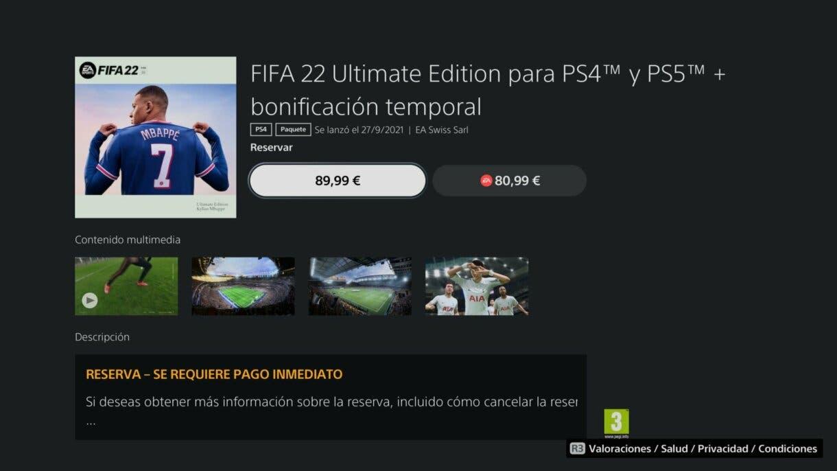 """Con este sencillo """"truco"""" puedes reservar FIFA 22 Ultimate Edition por un precio mucho más bajo EA Play"""